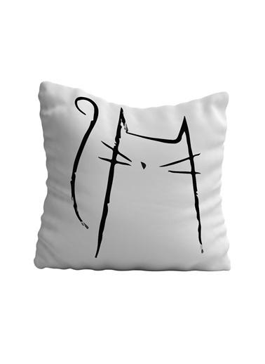 Lyn Home & Decor Karakalem Kedi Yastık Kılıfı 42X42 Renkli